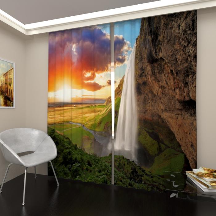 Фотошторы «Водопад в долине»