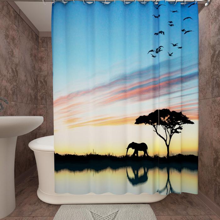 Фотошторы для ванной «Африканский закат 2»