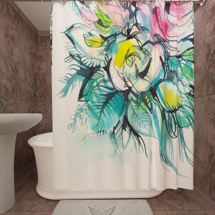 Фотошторы для ванной «Арт букет»