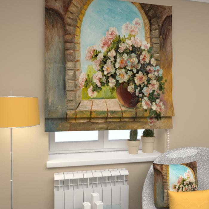 Римские фотошторы «Р Букет на окне 3»