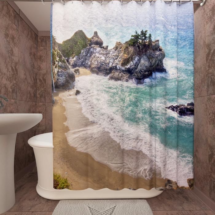 Фотошторы для ванной «Дикий пляж 1»