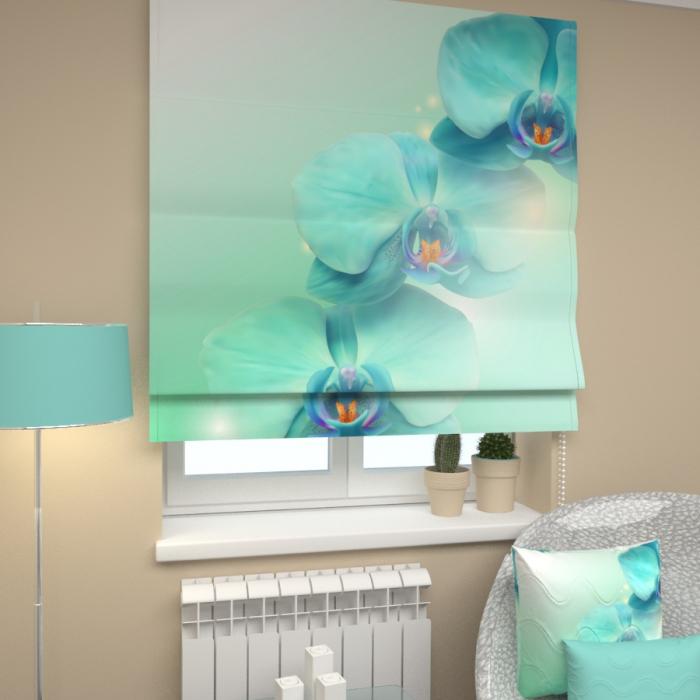 Римские фотошторы «Р Голубая орхидея»