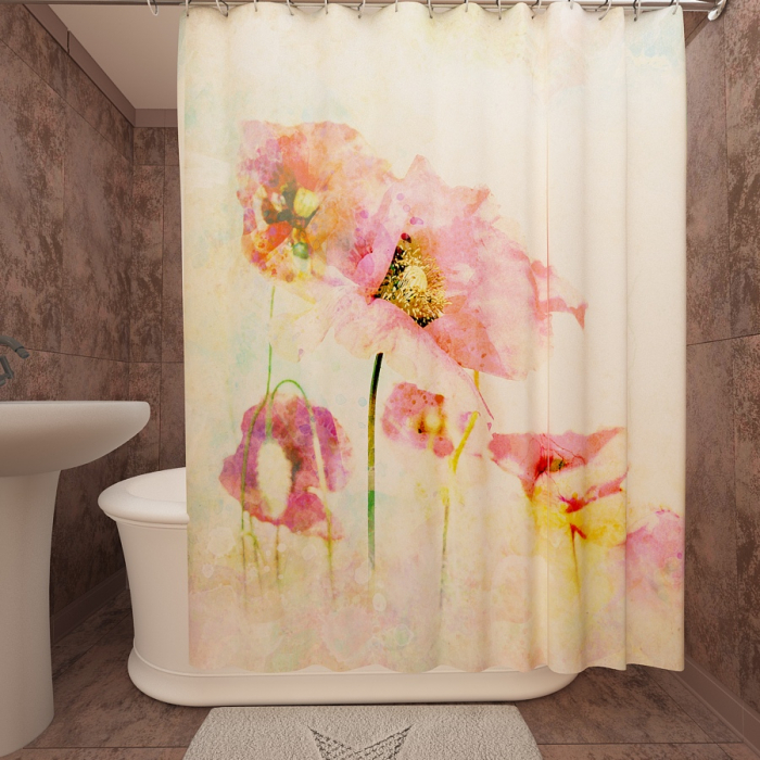 Фотошторы для ванной «Маки 11»