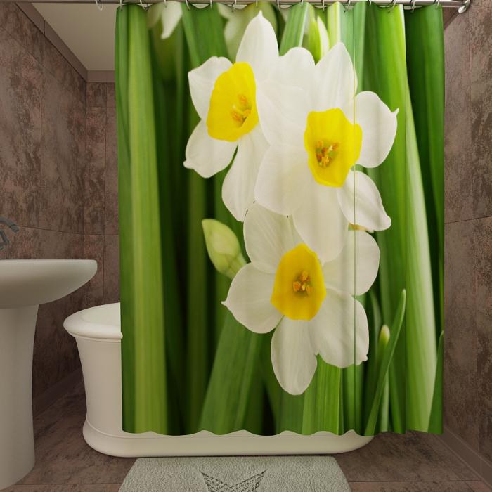Фотошторы для ванной «Нарциссы 2»