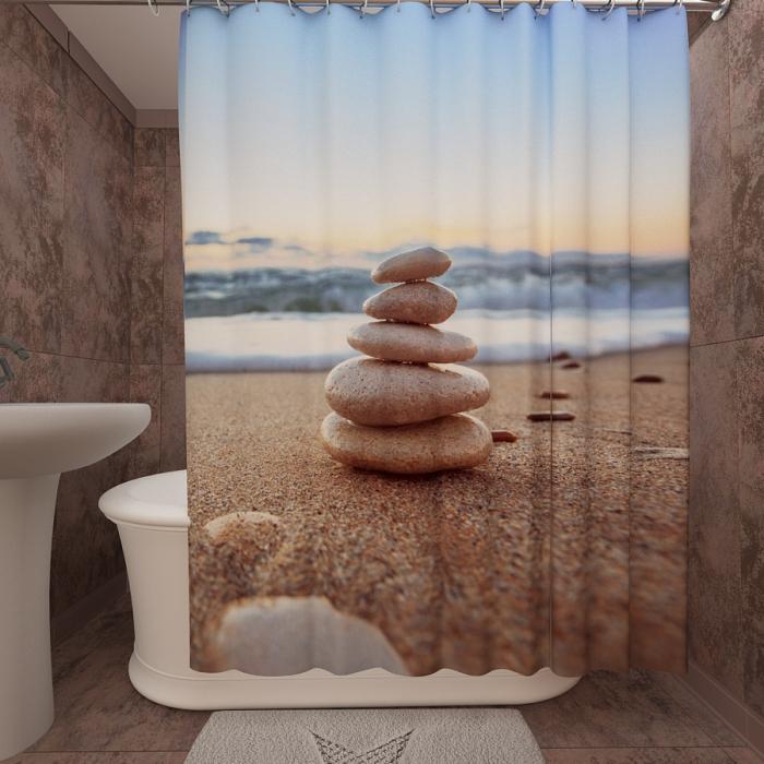 Фотошторы для ванной «Песчанный пляж 1»