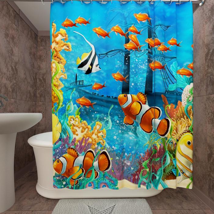 Фотошторы для ванной «Подводный мир 21»