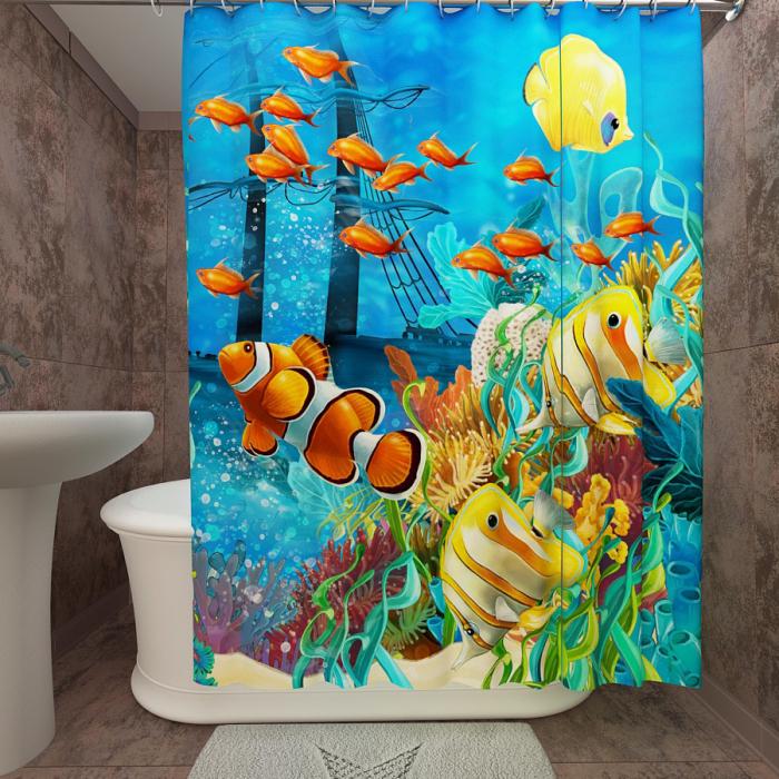 Фотошторы для ванной «Подводный мир 23»