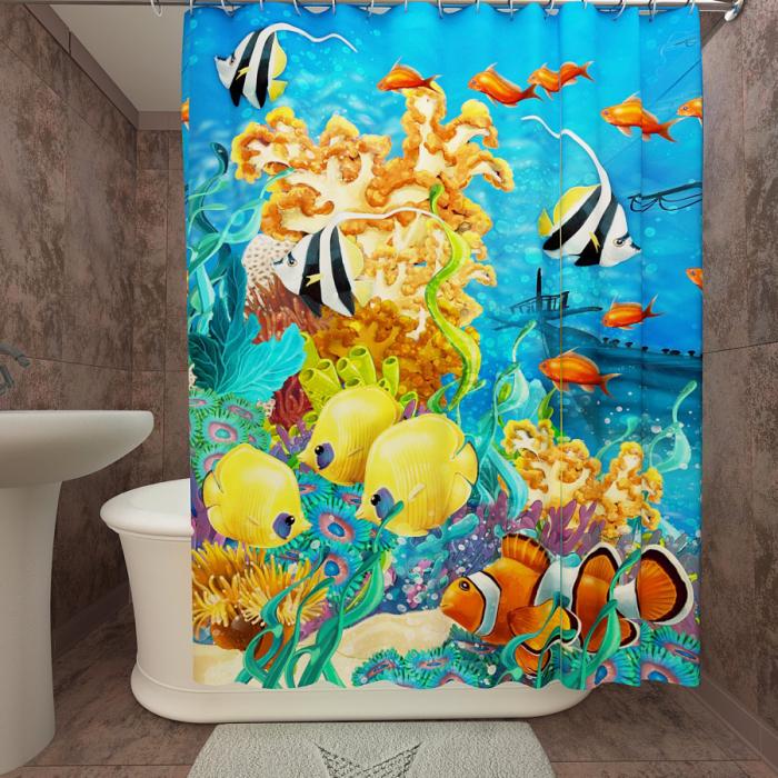 Фотошторы для ванной «Подводный мир 22»