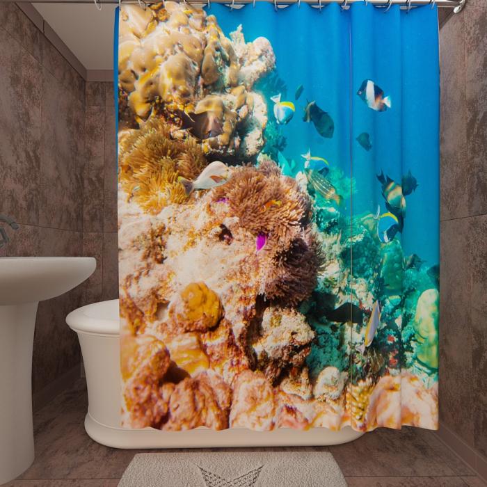 Фотошторы для ванной «Подводный мир 52»