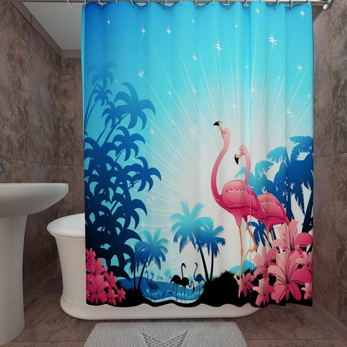 Фотошторы для ванной «Розовые фламинго»
