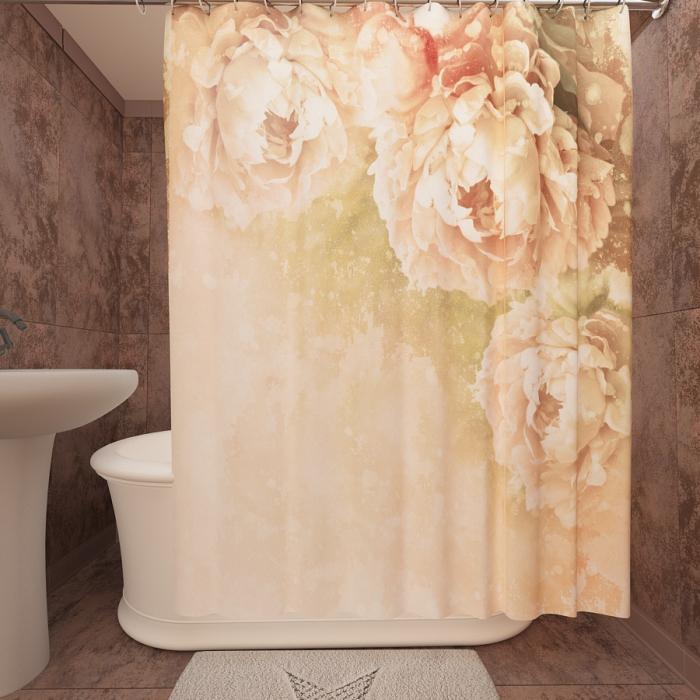 Фотошторы для ванной «Розовые пионы»