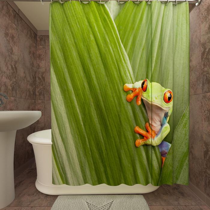 Фотошторы для ванной «Тропическая лягушка»