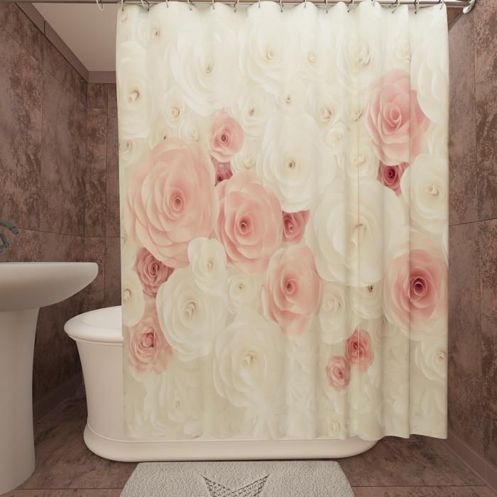 Фотошторы для ванной «Цветочное полотно»