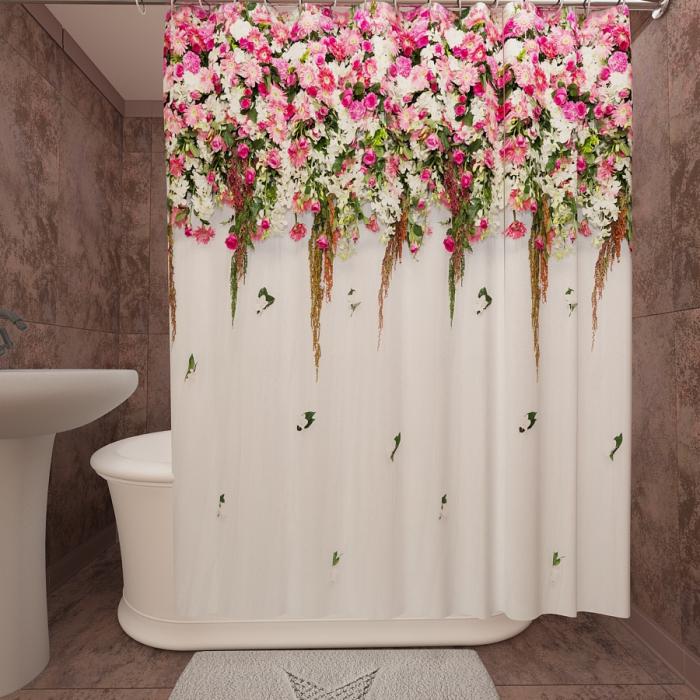 Фотошторы для ванной «Цветущая изгородь 11»