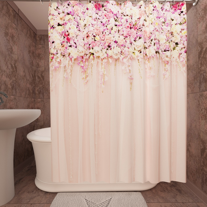 Фотошторы для ванной «Цветущая изгородь 2»