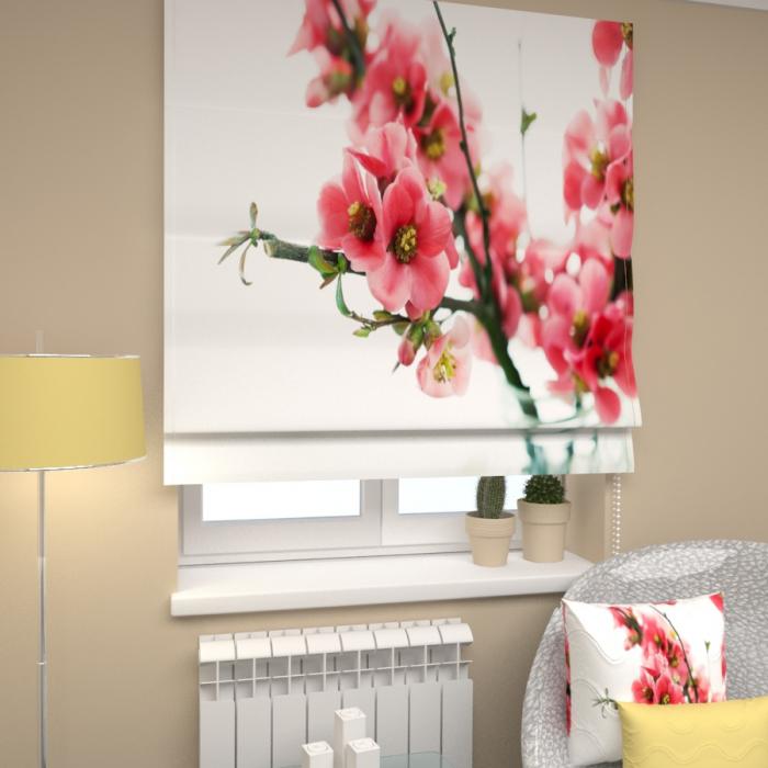 Римские фотошторы «Р Вишня цветет»