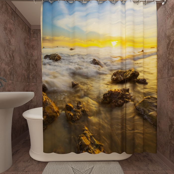 Фотошторы для ванной «Закат на берегу 2»
