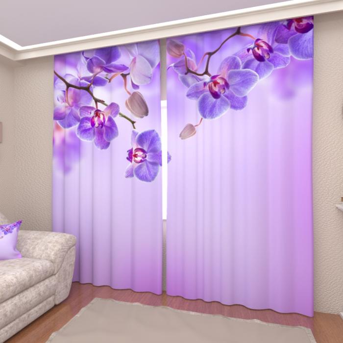 Фотошторы «Сиреневые орхидеи»