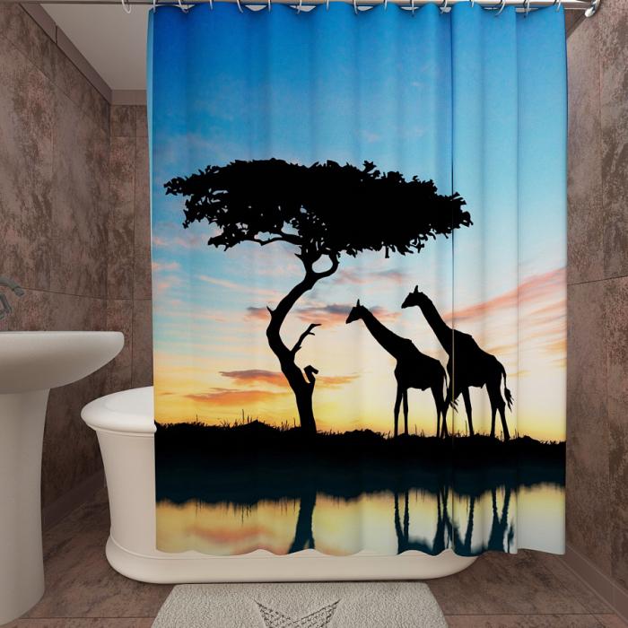 Фотошторы для ванной «Африканский закат 1»