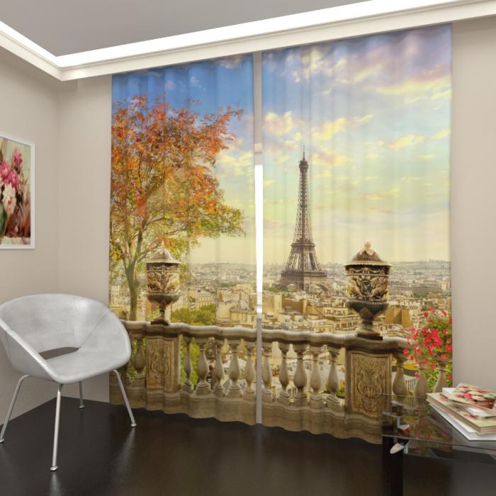 Фотошторы «Балкон с видом на Париж»