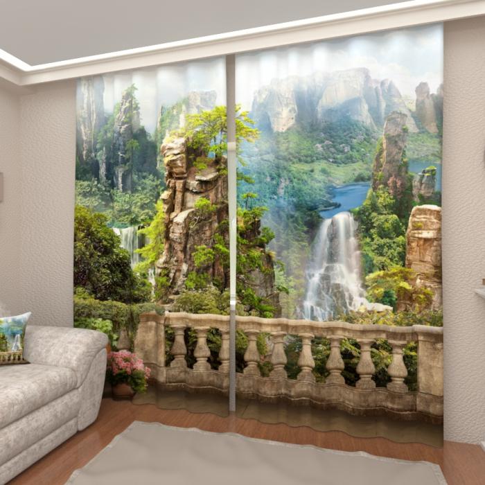 Фотошторы «Балкон в тропиках»