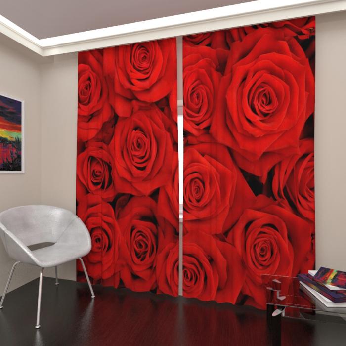Фотошторы «Бордовые розы»