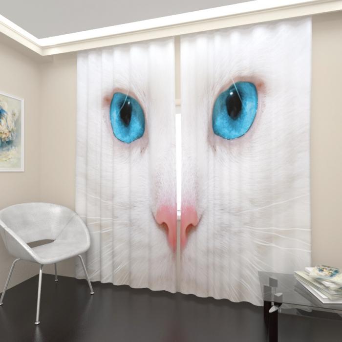 Фотошторы «Белый кот»