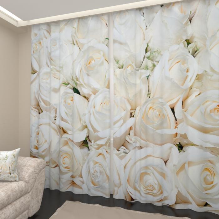 Фотошторы «Белоснежные розы»