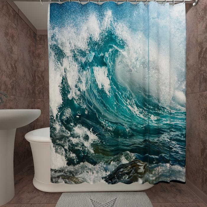 Фотошторы для ванной «Большая волна»