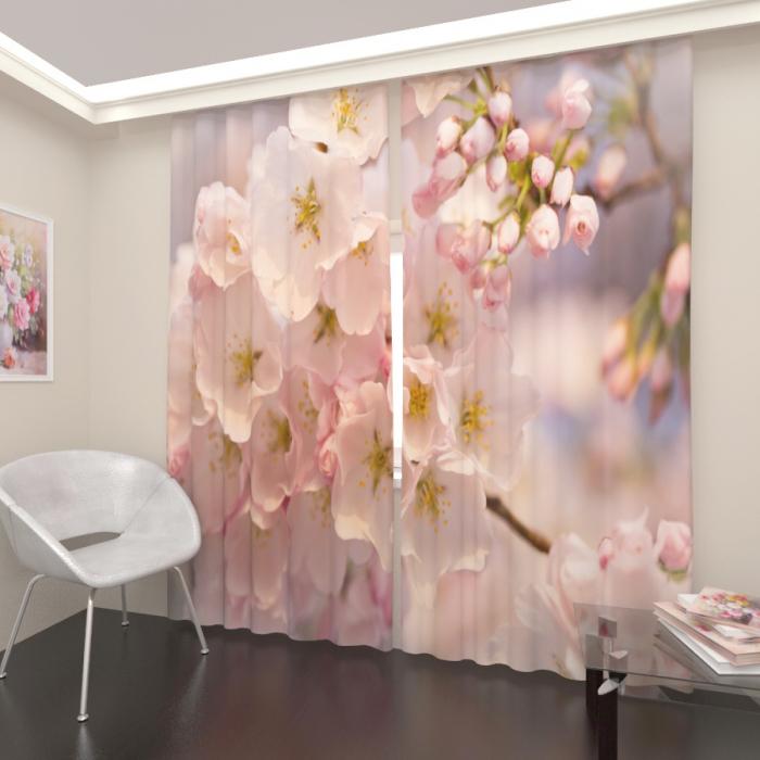 Фотошторы «Дерево в розовом цвету»