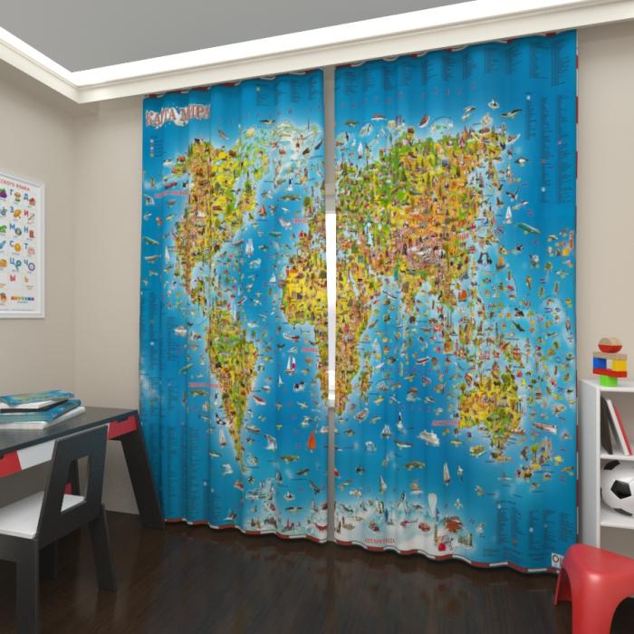 Фотошторы «Детская карта мира»