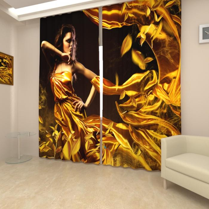 Фотошторы «Девушка в золотом»