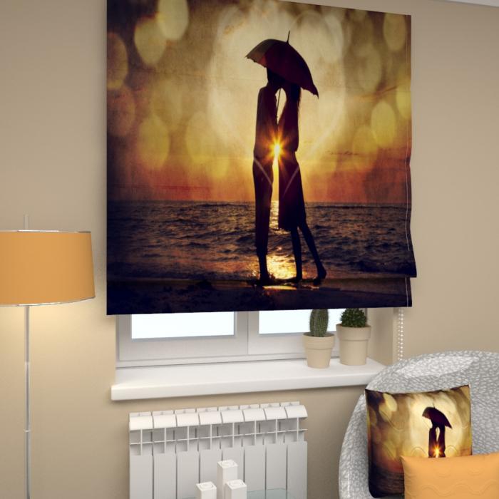 Римские фотошторы «Р Двое под зонтом»