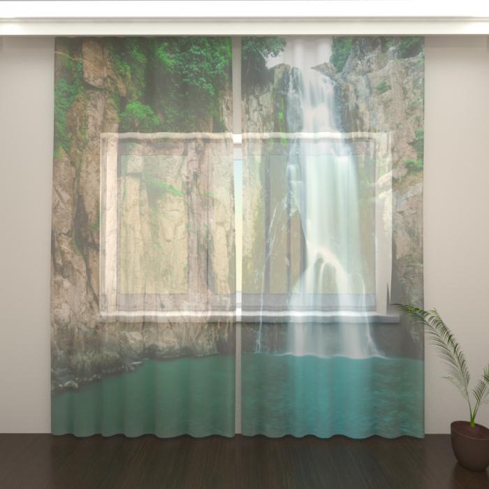 Большая распродажа «Фототюль Быстрый водопад, Высота 235 см, Общая ширина 270 см»
