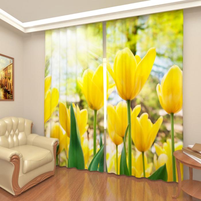 Фотошторы «Желтые тюльпаны»