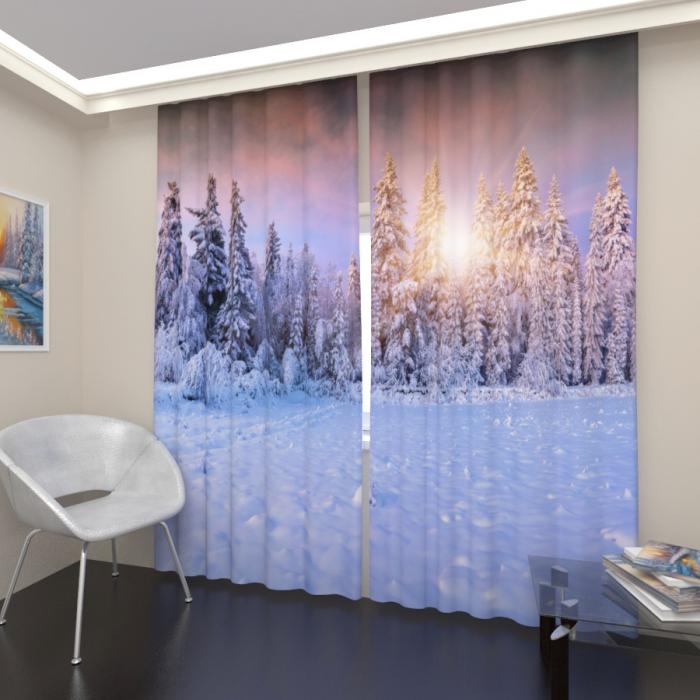Фотошторы «Хвойный зимний лес»