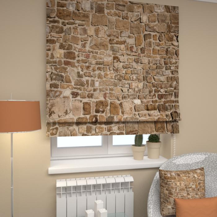 Римские фотошторы «Р Каменная стена»