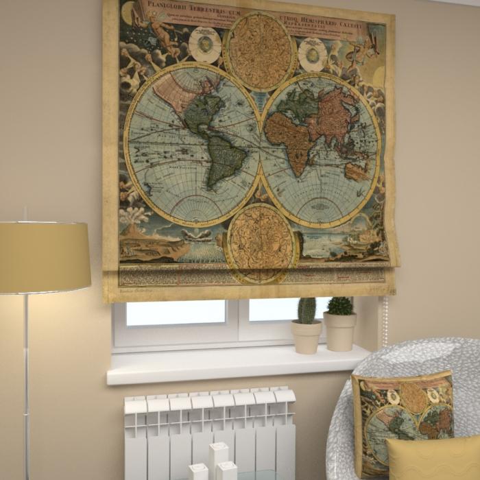 Римские фотошторы «Р Карта мира»