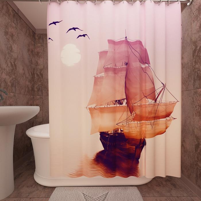 Фотошторы для ванной «Корабль на закате»