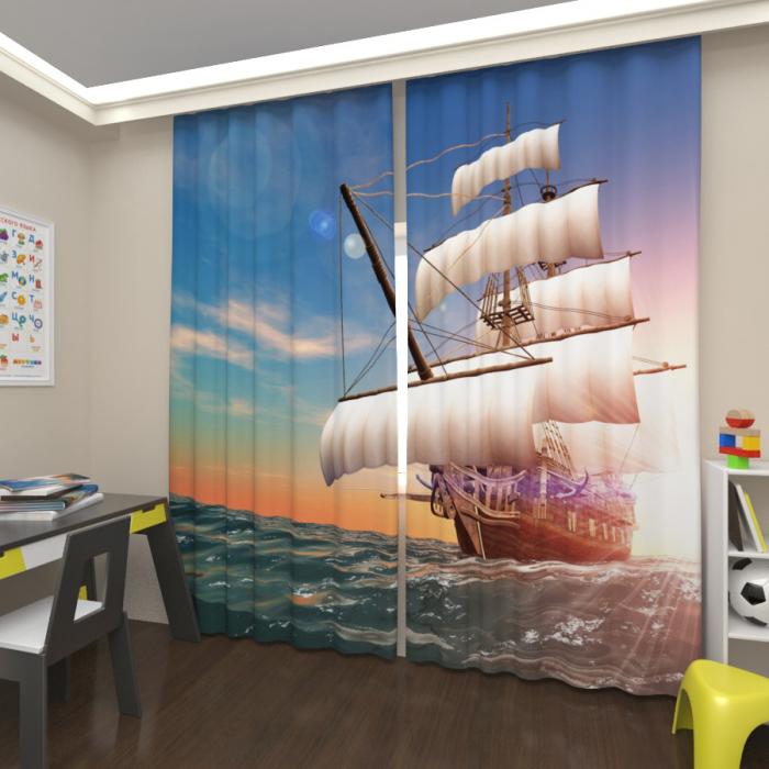 Фотошторы «Корабль на волнах 2»