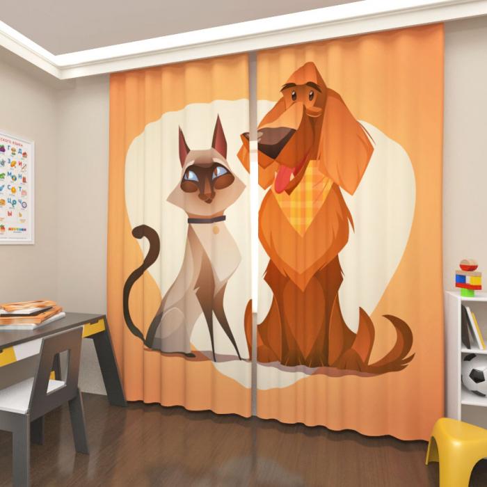 Фотошторы «Кот и пес»