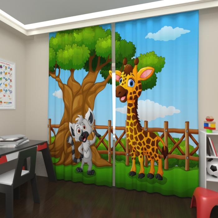 Фотошторы «Лемур и жираф»