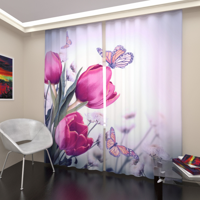 Фотошторы «Малиновые тюльпаны»