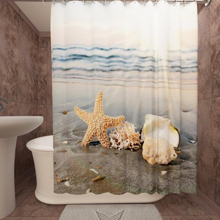 Фотошторы для ванной «Морская звезда»