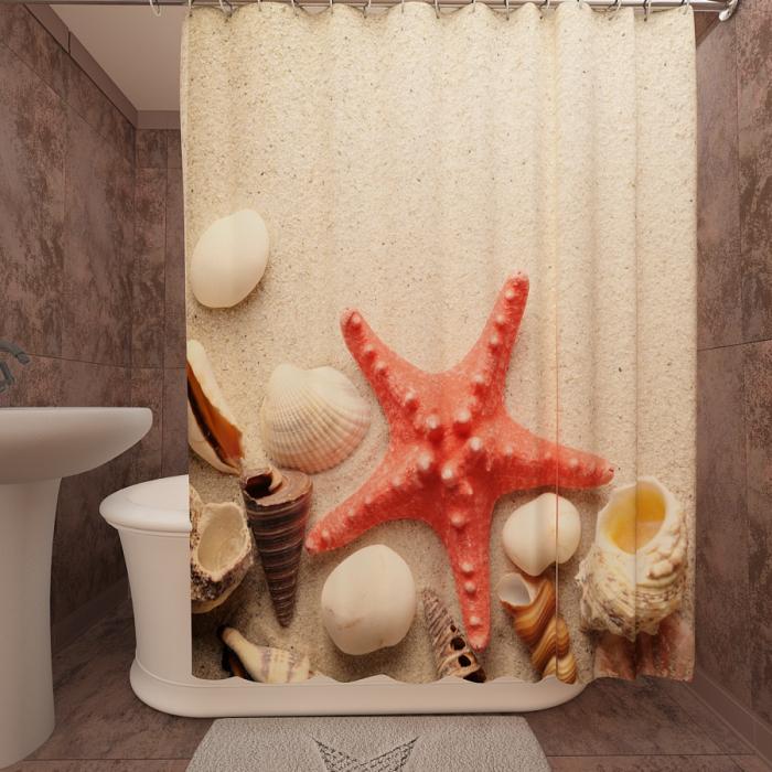 Фотошторы для ванной «Морские находки»