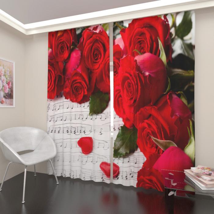 Фотошторы «Ноты и розы»