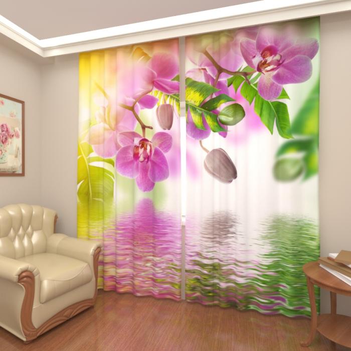Фотошторы «Орхидея над водой»