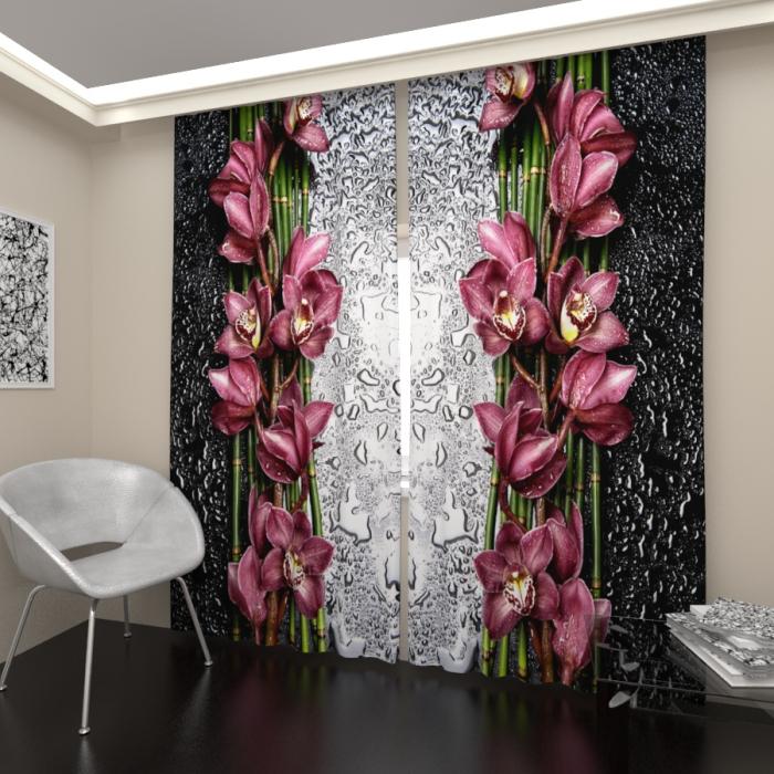 Фотошторы «Орхидея после дождя»