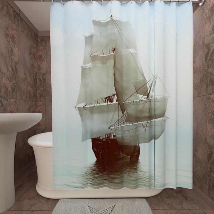 Фотошторы для ванной «Парусник в тумане»