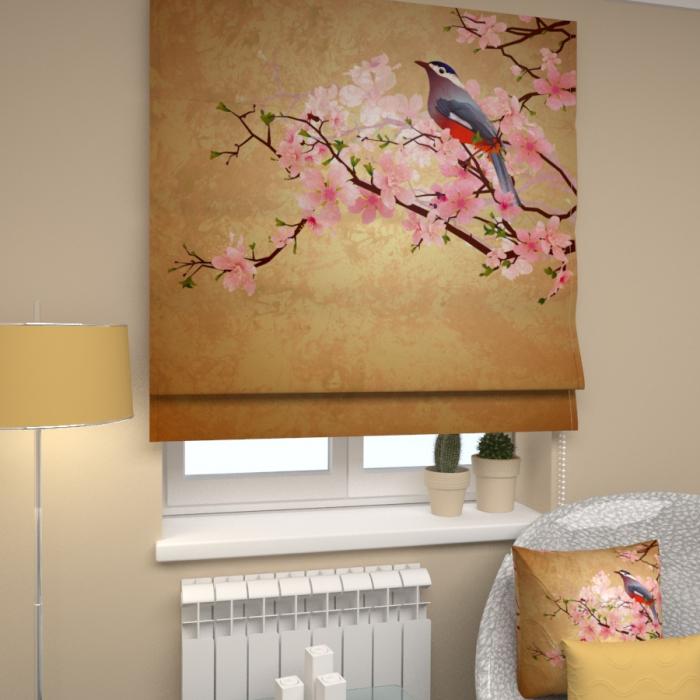 Римские фотошторы «Р Птица на ветви»